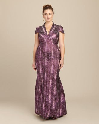 Zac Posen Metallic Party Jacquard Gown