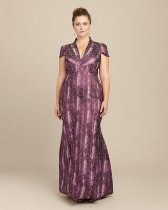 Zac Posen Metallic Party Jacquard Gown