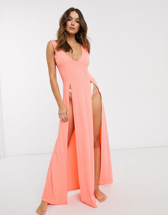 Asos Design DESIGN jersey textured split maxi beach dress in faded fluro orange