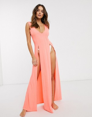Asos Design DESIGN jersey textured split maxi beach dress in faded fluro orange