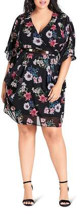 City Chic Plus Lily Belted Floral Dress