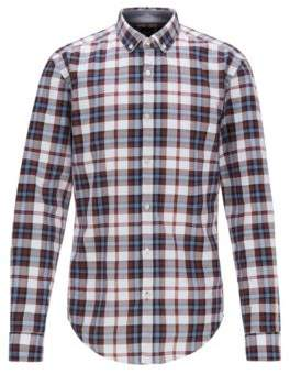 BOSS Slim-fit shirt with plain check in Oxford cotton