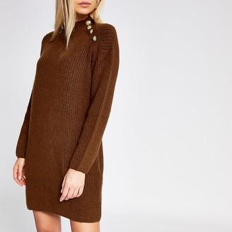 River Island Dark brown knit jumper dress