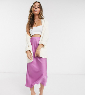 ASOS DESIGN Petite satin bias midi skirt in violet