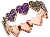 Sydney Evan 14k Rose Gold Rainbow Sapphire Heart Eternity Ring, Size 6.5