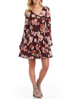 Moa Moa Floral-Print Long Sleeve Fit-And-Flare Dress