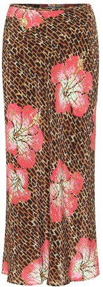 Rixo Kelly printed silk slip skirt