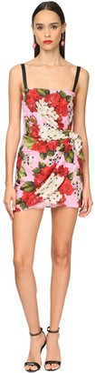 Dolce & Gabbana Geranium Printed Charmeuse Mini Dress