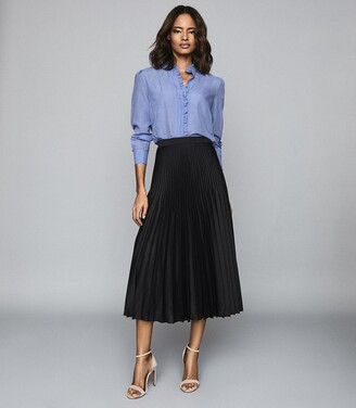 Reiss Dora - Pleated Midi Skirt in Black