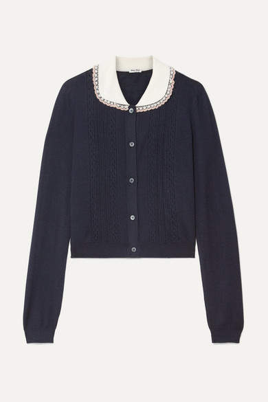 Miu Miu Embellished Tulle-trimmed Cashmere And Silk-blend Cardigan - Midnight blue