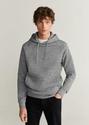 MANGO MAN - Kangaroo pocket hoodie medium heather grey - S - Men