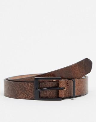 ASOS DESIGN slim belt in vintage brown leather with matte black buckle
