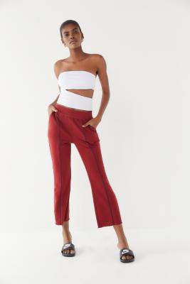 Out From Under Finley Pintuck Cropped Flare Pants - red S at Urban Outfitters