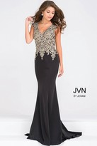 Jovani Cap Sleeve Fitted Embellished Bodice Prom Dress JVN48496