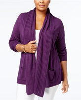 Karen Scott Plus Size Open-Front Cardigan, Created for Macy's