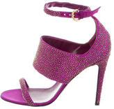 Sergio Rossi Satin Bead-Embellished Sandals