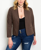 Brown & White Stripe Blazer - Plus