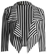 JanisRamone New Ladies Casual Black White Striped Cropped Waterfall Blazer Jacket Coat