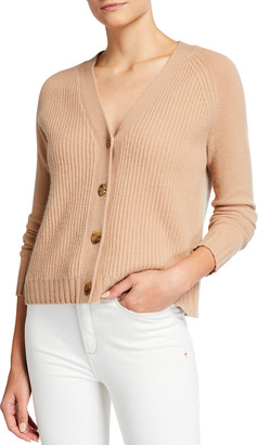 Neiman Marcus Cashmere Ribbed Front Button Cardigan