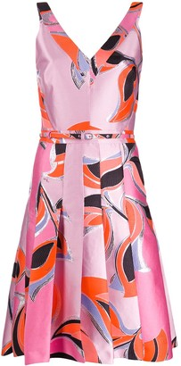 Emilio Pucci Geometric Print Pleated Cocktail Dress