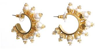 Ben-Amun Pearly Huggie Hoop Earrings