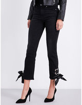 Good American Good Legs lace-up straight mid-rise jeans
