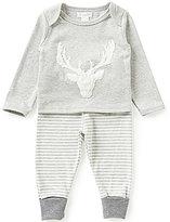 Mud Pie Baby Boys 6-18 Months Deer-Head Tee and Yarn-Dyed-Stripe Pants Set