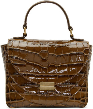 Wandler Brown Croc Mini Luna Top Handle Bag