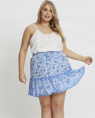 You & All - Women's Blue Mini skirts - Plus Boho Border Print Skater Skirt - Size One Size, 16 at The Iconic