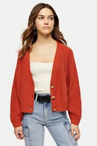 Topshop Womens Petite Bright Orange Knitted Super Cropped Cardigan - Bright Orang