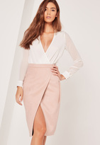 Missguided Belt Tie Faux Suede Midi Skirt Nude