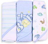 SpaSilk Baby Stripe/Baby Plane/Dinosaur 3-Count Terry Hooded Towel in Blue
