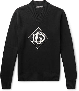 Dolce & Gabbana Logo-Appliqued Virgin Wool Sweater