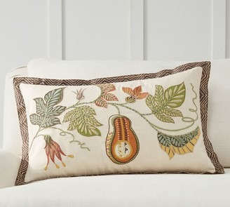 Pottery Barn Gourd Embroidered Lumbar Pillow Cover