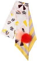 Fendi Maxi Wrappy Silk Scarf W/ Fox Fur Pompom