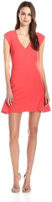 Halston Women's Drop Waist V-Neck Structured Dress