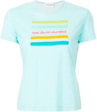 Yves Saint Laurent Pre Owned Rainbow Line Logo T-shirt