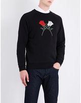 Dries Van Noten Henric Floral-embroidered Cotton-jersey Sweatshirt
