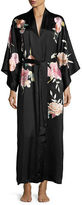 Josie Natori Lola Embroidered Silk Long Robe