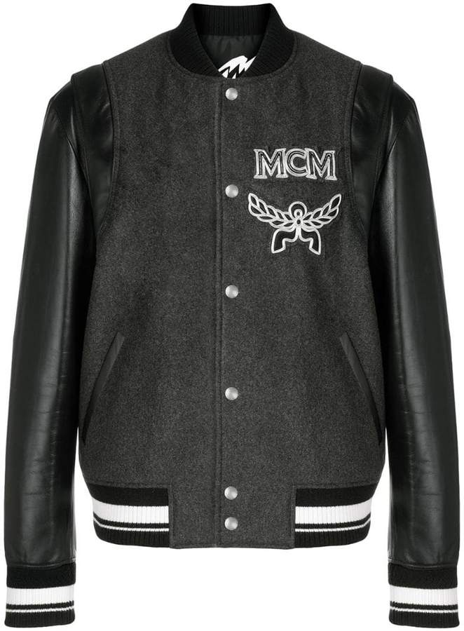 MCM bomber jacket with detachable sleeves