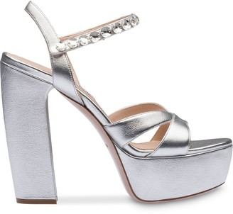 Miu Miu embellished strap platform sandals