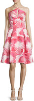 Aidan Mattox Halter Floral Brocade Dress