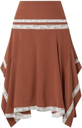 Chloé Asymmetric Lace-trimmed Ruffled Silk-satin Skirt