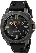 HUGO BOSS BOSS Orange Men's 1513254 SAO PAULO Gunmetal-Tone Watch with Black Silicone Band