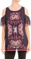 Max Studio Printed Blouse With Cut Out Shoulders