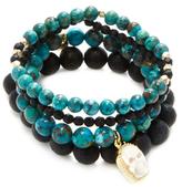 Good Charma Carved Bone Skull & Chinese Turquoise Bangle Bracelets (Set of 4)