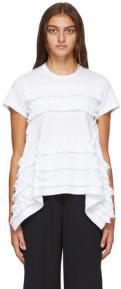 Comme des Garcons White A-Line Ruffled T-Shirt