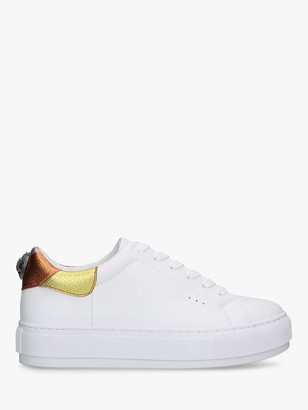 Kurt Geiger Laney Lace Up Leather Trainers, White/Multi