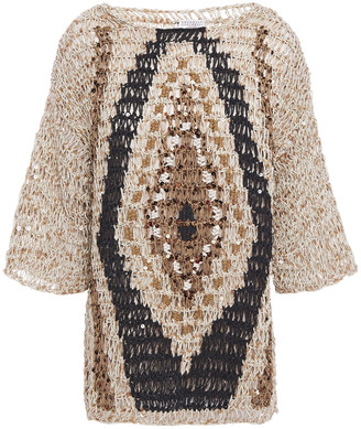 Brunello Cucinelli Sequin-embellished Open-knit Cotton-blend Sweater