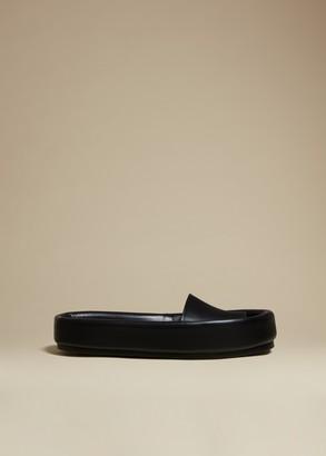 KHAITE The Venice Sandal in Black Leather